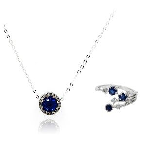Temperament blue crystal necklace ring set